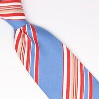 John G Hardy Mens Silk Cotton Necktie Sky Blue Red White Multi-Stripe Weave Tie