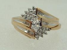 14K MARQUISE DIAMOND ENGAGEMENT RING 14 KARAT GOLD TWO PIECE WEDDING BAND SET