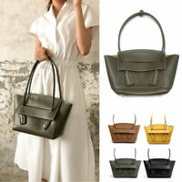 2 Szs/ Small Large Trapeze Real Leather Shoulder Bag Purse Tote 2 Top Handles