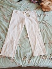 Maternity Size 14 White Linen Trousers New Look Tags BNWT under bump adjustable