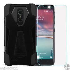 Black Shockproof Case w/Stand Cover+Tempered Glass for ZTE Grand X Max 2 Z963VL