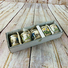 "Vintage Pack of 5 Candles Floral Patterned 2.5"" Blue White Flowers New"