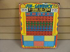 """RARE 14"""" 25-Cent """"Fin & Sawbuck"""" 300 Hole Punch Board Serial #3107 Unpunched"""