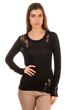 RRP €235 ENZA COSTA Jumper Size M Black Destroyed Style Thin Knit Scoop Neck