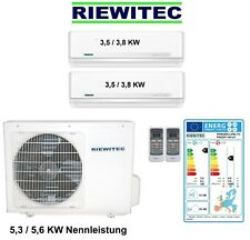 Dual MultiSplit (2 x 3,5 KW) RIEWITEC Inverter Klimaanlage 5,3 / 5,6 KW, A++/A