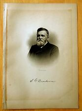 Antique Print 1885 DR.SAMUEL GERRISH DEARBORN Nashua,NH STEEL ENGRAVING Portrait
