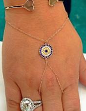 Rose Gold Evil Eye Hand Chain Slave Bracelet Finger Ring Harness Sterling Silver