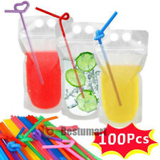 100 PCS Drink Pouches Bags + 100 Pcs Straws Clear Stand-Up Zipper Bags Reusable