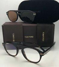 New TOM FORD Eyeglasses TF 5533-B 52E 49-21 Tortoise Frames Brown Clip-On Lenses