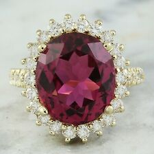 9.38 Carat Natural Tourmaline 14K Solid Yellow Gold Diamond Luxury Ring