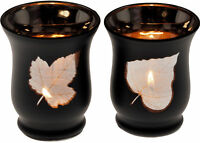 Set Of 2 Black Glass Leaf Hurricane Votive Tea Light Candle Holders