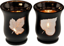 Set Of 2 Black Glass Leaf Hurricane Votive Tea Light Candle Holders