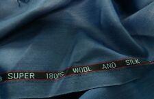 Teal Blue tweed Herringbone Suiting Fabric suit jacket pants 180s Wool & Silk