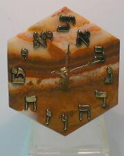 MINERAL CLOCK > HEXAGON HEBREW ONYX CLOCK  > QUARTZ MOVEMENT > ONE OF A KIND .rr