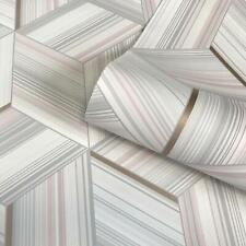 Belgravia Metallic Geometric Stripes Wallpaper Cube Pink Grey White Gold Hudson
