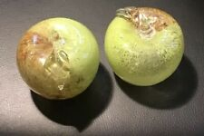 1 Pair (2) Vintage Brown & Green Handblown Glass Apple Paperweight