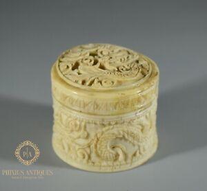 ANTIQUE 19TH CENTURY CHINESE CARVED BOVINE BONE TRINKET BOX