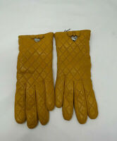 Coach quilted leather gloves Dark goldenrod wool lining soft NWT Size 6 1/2