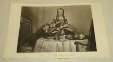 1845 Antique Print/JAMES WATT'S FIRST EXPERIMENT ON STEAM (HIS MOM'S TEAPOT)