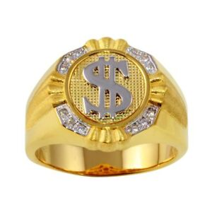 Men's Sterling Silver Yellow Gold Plated Dollar Sign 2-tone Ring w/ CZ Stones