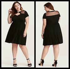 NWT Torrid Plus Size 5 5X Black Dot Mesh Inset Skater Dress (#36)