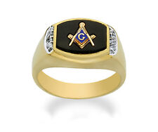 NEW Masonic Ring 10K Solid Gold Master Mason Freemason Masonry Diamond & Onyx