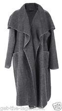 New Italian Boiled Wool Mix Coat LAGENLOOK Waterfall Pocket Duster Jacket 12-22