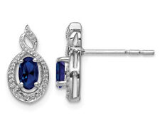 Sterling Silver 1/2 Carat (ctw) Created Blue Sapphire Earrings