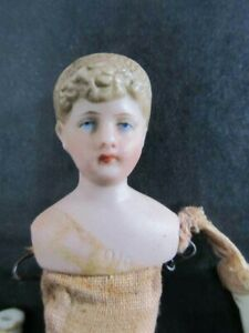 ANTIQUE, VINTAGE, PORCELAIN MOLDED HEAD DOLL, 5.5 INCHES, GERMAN OR FRENCH