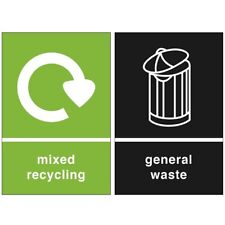 2x Recycling bin stickers - General waste signs - small PVC labels - 150x100 mm