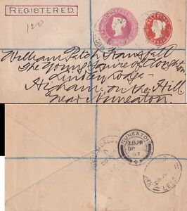 G.B.  1897 Registered p.s.env. 1/2 and 3d extra imprint from Leeds to Nuneaton