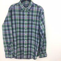 Ralph Lauren L Large Men's 100% Cotton Green Plaid Button Down Shirt