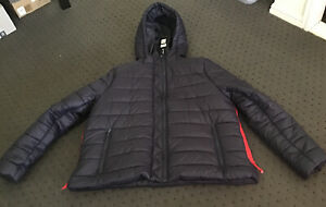 Puffer Jacket With Hood Navy Blue Red Trim Plus Size M Lightweight Piper