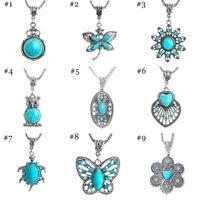 Fashion Women's Tibetan Silver Turquoise Beads String Pendant Chain Necklace