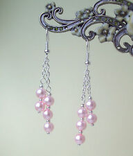 Pretty Baby Pink Glass Pearl Dangly Chain Silver Plated Drop Earrings