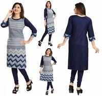 Women Fashion Indian Kurti Tunic Kurta Top Shirt Dress SC2465 Blue 3/4 Sleeves