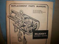 """Budgit Electric Hoists """"PARTS LIST"""" ORIGINAL COPY 1973! covers 1/8 - 3 tons"""
