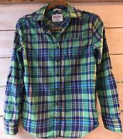 Aeropostale Eighty-Seven Jr. Women's XS/TP Boyfriend Flannel Top Aqua Lime L/S