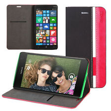 Black/Magenta Poetic Nokia Lumia 830 Case PU Leather Protective Flip Cover