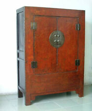 Qing Dynasty Chinese Antique red lacquered Chinoiserie Armoire Cabinet 19th Cent