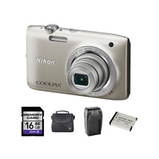 Nikon Coolpix A100 20.1MP Digital Camera - Silver + 2 Batteries, 16GB & More