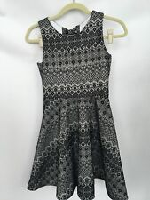 Rare Editions Big Girls Black White Art Deco Print Knot Detail Dress Size 14