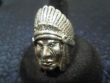 """Vintage 925 Sterling Silver """"Classic"""" INDIAN CHIEF HEAD RING Sz 11"""