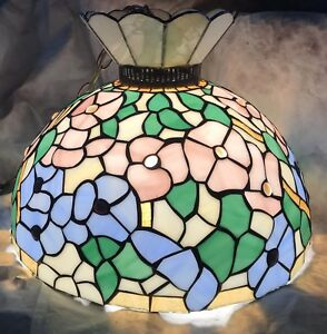 Antique Large Stained Glass Dogwood Lamp Shade Chandelier - Tiffany Era