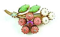 Vintage Pink & White Flowers & Leaves Pin Brooch Rhinestone Center Carved Glass