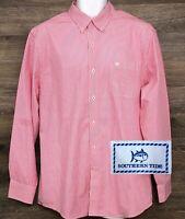 Southern Tide Men's Trim Fit Pink Cotton Striped Long Sleeve Button Down Shirt L