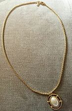 Genuine Fine Vintage Burberry's Gold Filled Pearl Pendant And Chain Necklace