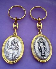 Keyring Double Sided Saint St Christopher Miraculous Medal Charm Keychain