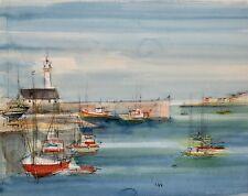 Sacha CHIMKEVITCH- Peinture originale - Petit port Normand 1
