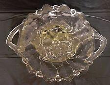 Vtg clear glass platter plate w/ handles / embossed flowering dogwood blooms